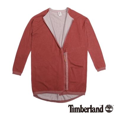 Timberland 女款紅色不對襯拉鍊棉質罩衫