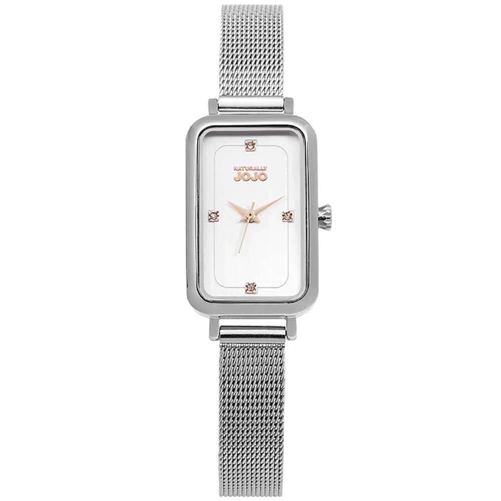 NATURALLY JOJO 魅力魔方米蘭不鏽鋼鍊錶-銀色/玫瑰金-20*37mm