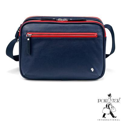 PORTER-躍色格調VERGE簡約實用斜背包-S-深藍-紅