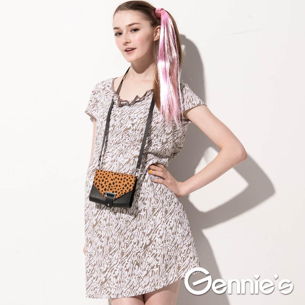 【Gennie's奇妮】氣質典雅獨特紋路印花春夏孕婦洋裝(G1508)-M