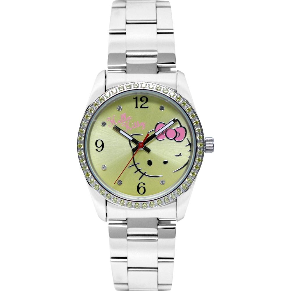 HELLO KITTY 凱蒂貓俏皮眨眼晶鑽手錶-黃/36mm