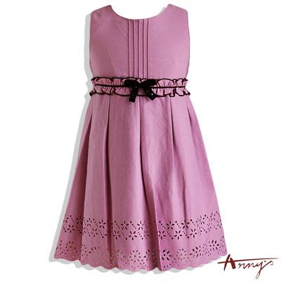 圓領束腰蝴蝶結刺繡花紋洋裝*4217紫