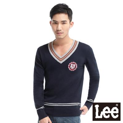 Lee-Preppy-Sport勳章V領長袖毛衣-男款-深藍