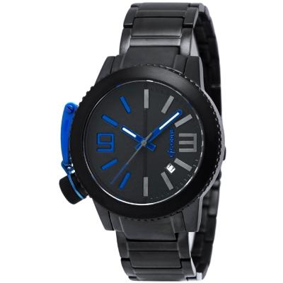 LICORNE MK-III軍式風格夜光氚氣黑鋼手錶-黑X藍/43mm