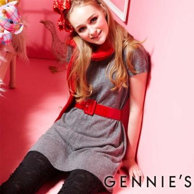 Gennies奇妮–素色彈性針織羊毛秋冬孕婦洋裝(GSY02)-2色可選