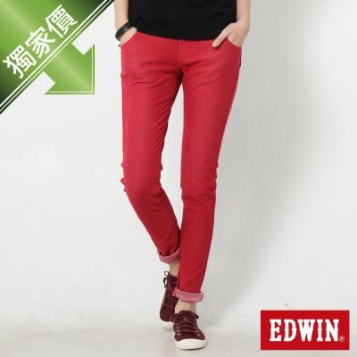 EDWIN 迦績褲JERSEYS立體剪裁磨毛色褲-女-紅色