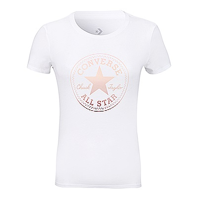 CONVERSE-女休閒短T恤10006832-A05-白