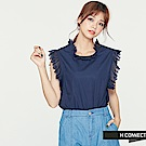 H:CONNECT 韓國品牌 女裝 - 無袖蕾絲滾邊造型上衣-藍