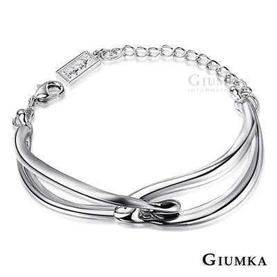 GIUMKA手環手鏈 鏤空相扣造型手鍊(銀色)