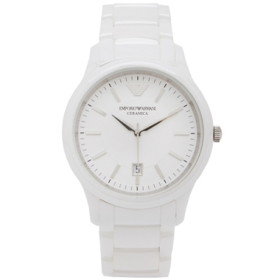 ARMANI 白色時尚款陶瓷手錶(AR 1476 )-白面x白色/ 43 mm