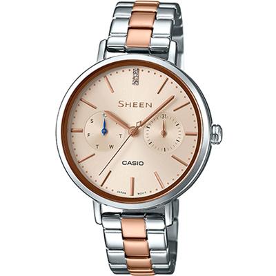 SHEEN粉嫩色系現代簡約風格混搭玫瑰金指針腕錶(SHE-3054SPG-4)金面34mm