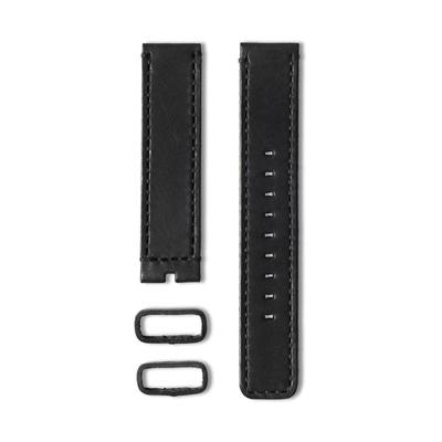 22 植揉皮革車線錶帶-黑色-20mm