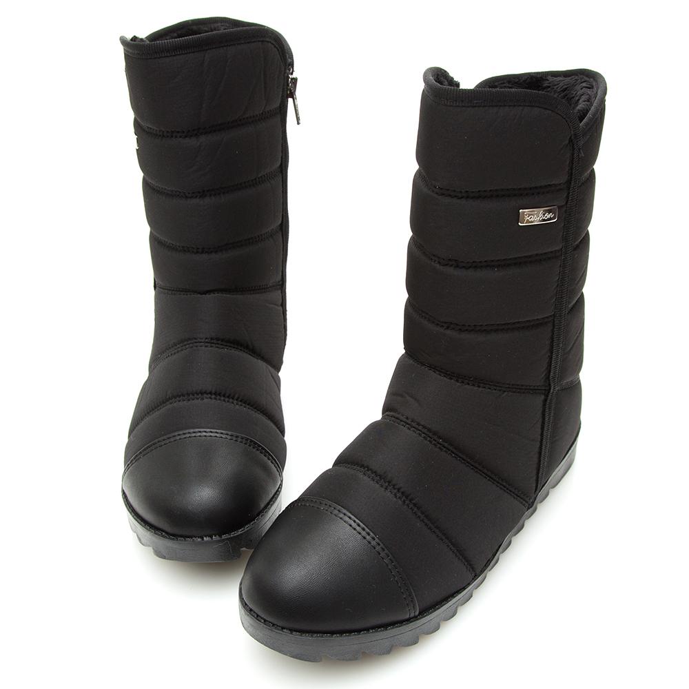 Camille s韓國空運-正韓製-高低口內增高太空雪靴-黑色