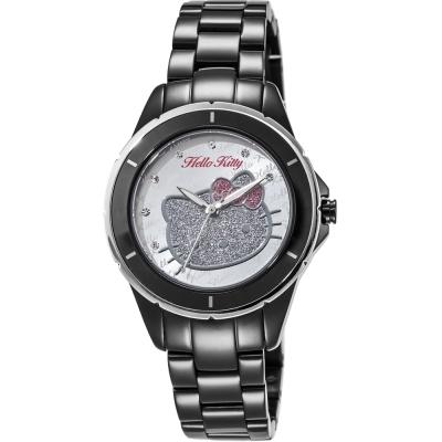 HELLO KITTY 凱蒂貓 微甜晶鑽手錶-黑x銀/35mm