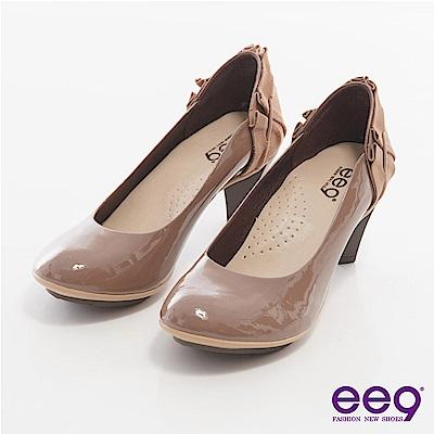 ee9心滿益足-素雅鞋面X後跟抓皺層次拼接麂皮高跟鞋-芋色