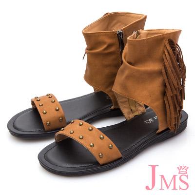 JMS-美式風格自然抓皺側流蘇羅馬涼鞋-棕色