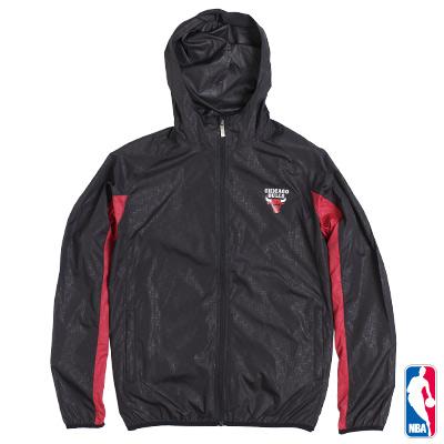 NBA-芝加哥公牛隊連帽運動風衣外套-黑(男)