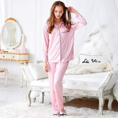 睡衣 彈性珍珠絲質女性長袖睡衣(57202) 粉色-台灣製造 蕾妮塔塔