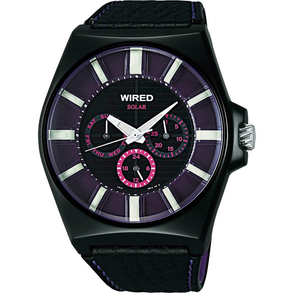 WIRED Solar 復刻太陽能腕錶(AUB033X)-紫/黑/44mm