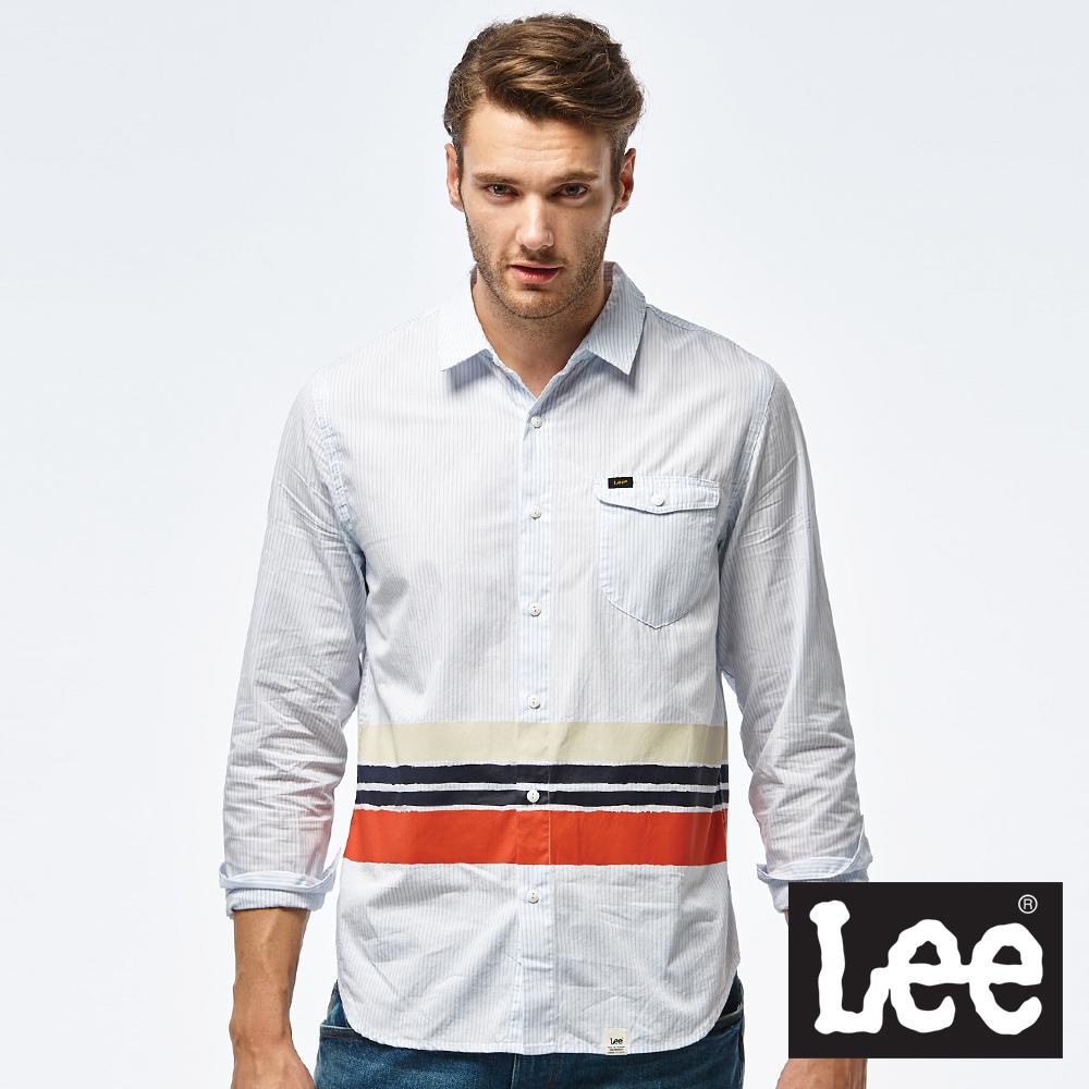 Lee 撞色休閒長袖襯衫-男款-白色