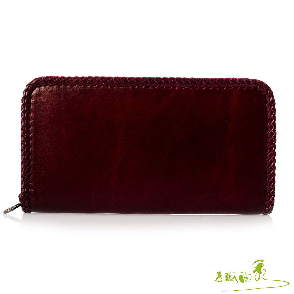 手感的秀 頂級植鞣革編織拉鍊隔層長夾(奢華紅)