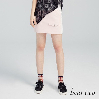 beartwo 運動風側拉鍊合身短裙(粉色)-動態show