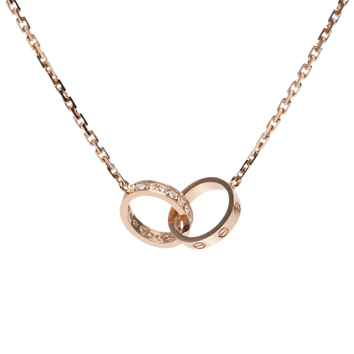 Cartier 經典LOVE系列鑽石鑲嵌橢圓雙鎖環項鍊(玫瑰金)