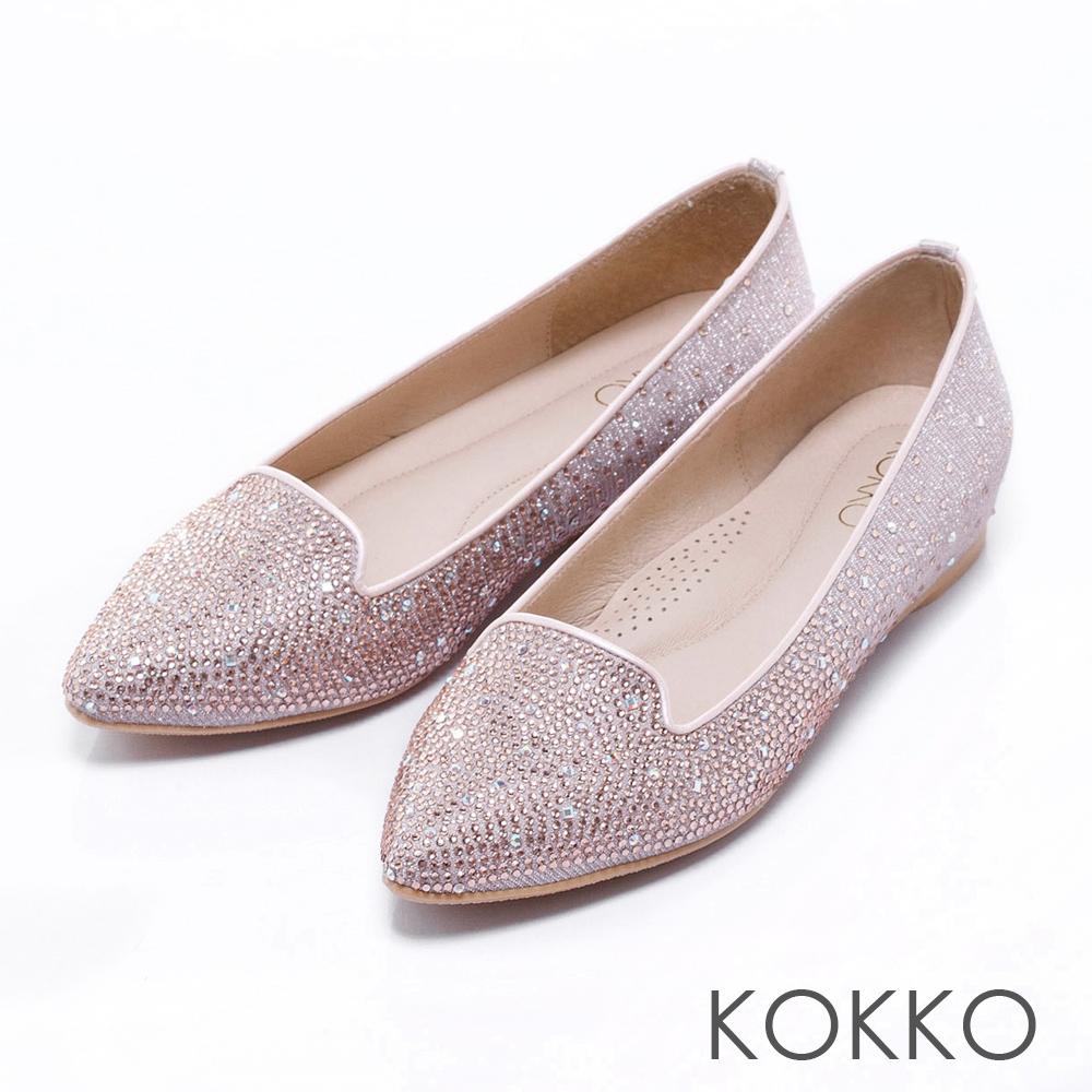 KOKKO透氣舒壓 - 輕奢感尖頭內增高樂福平底鞋- 粉
