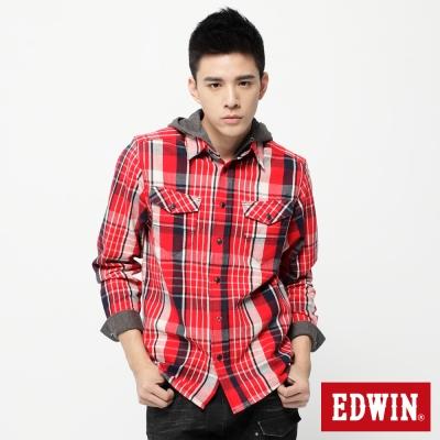 EDWIN 穩固焦點 可拆帽粗斜格長袖襯衫-男款(朱紅)