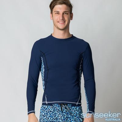澳洲Sunseeker時尚男士衝浪長袖上衣-深藍