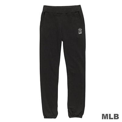MLB-紐約洋基隊LOGO繡花純棉縮口厚長褲-黑 (女)