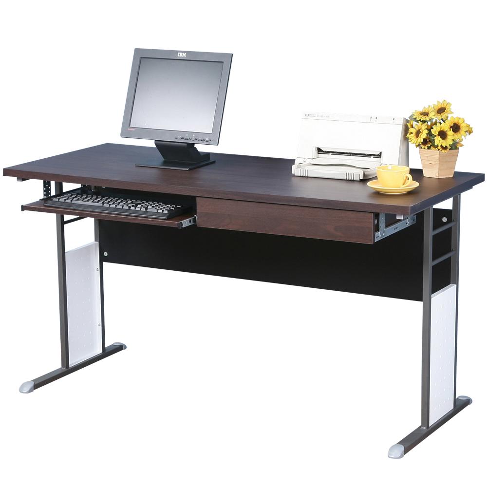 Homelike 巧思辦公桌 炫灰系列-胡桃加厚桌面140cm(附抽屜+鍵盤架)