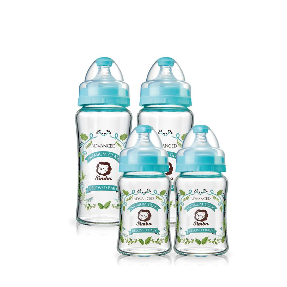 小獅王辛巴 蘿蔓晶鑽寬口葫蘆玻璃奶瓶超值組(2大2小)
