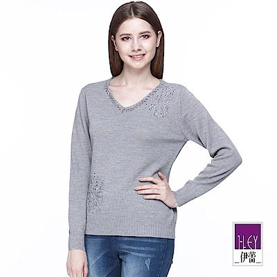 ILEY伊蕾 裝飾縫花V領羊毛針織上衣(灰/紅)