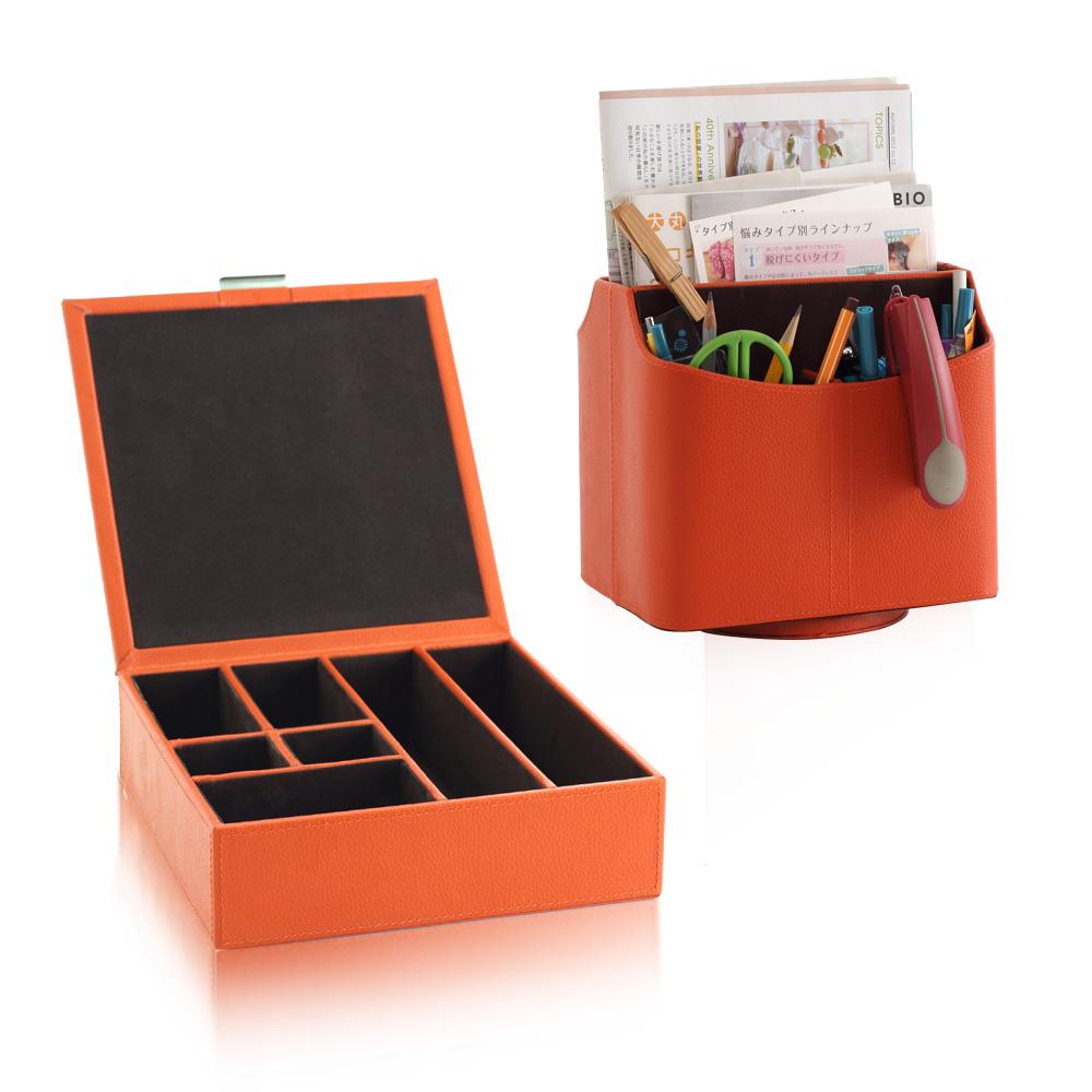 【LOVEL】義大利設計皮革辦公收納-有蓋方形7格置物盒+旋轉收納盒