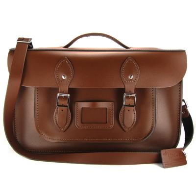 The Leather Satchel 英國手工牛皮劍橋包 肩背後背包 栗木棕 15吋
