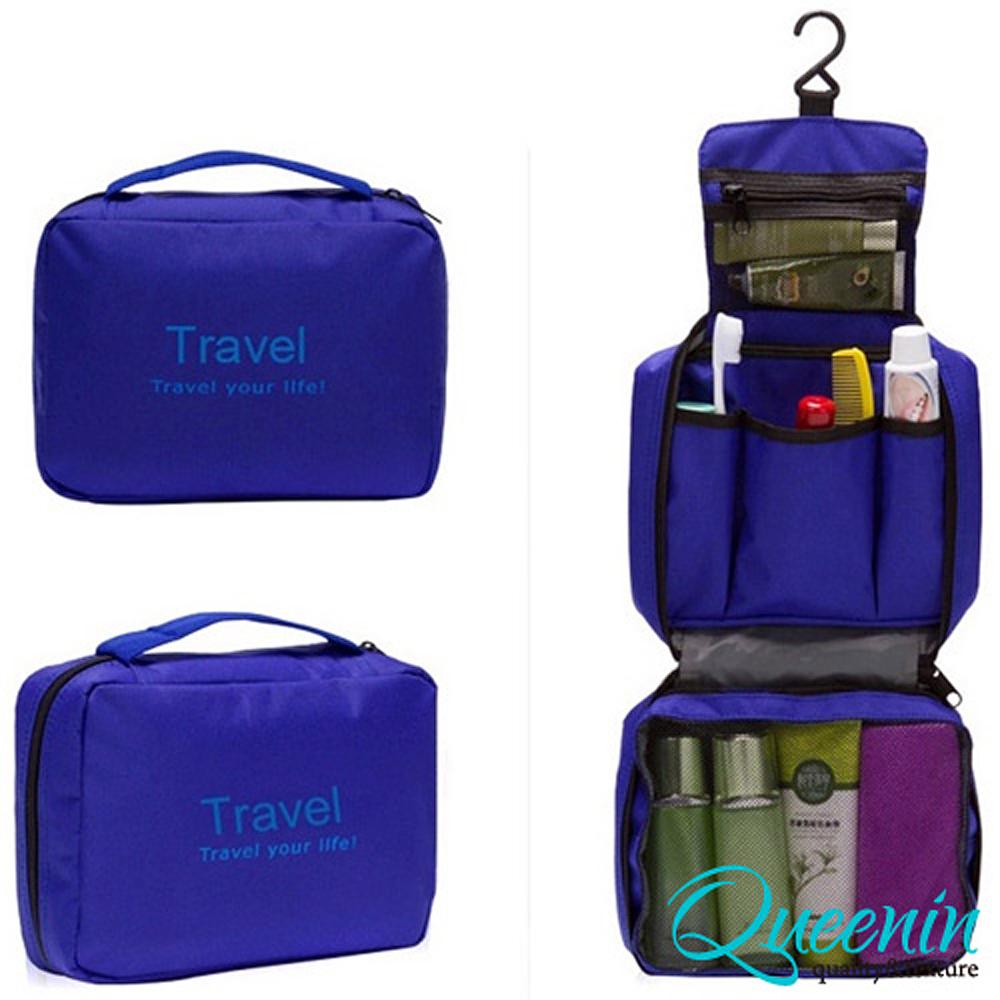 DF Queenin - 韓版出遊旅行專用盥洗包化妝包-藍色