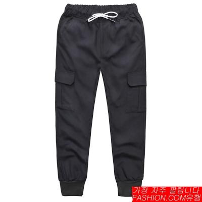 FASHION館 日韓雙層低檔口袋哈倫褲 縮口 螺紋 GD