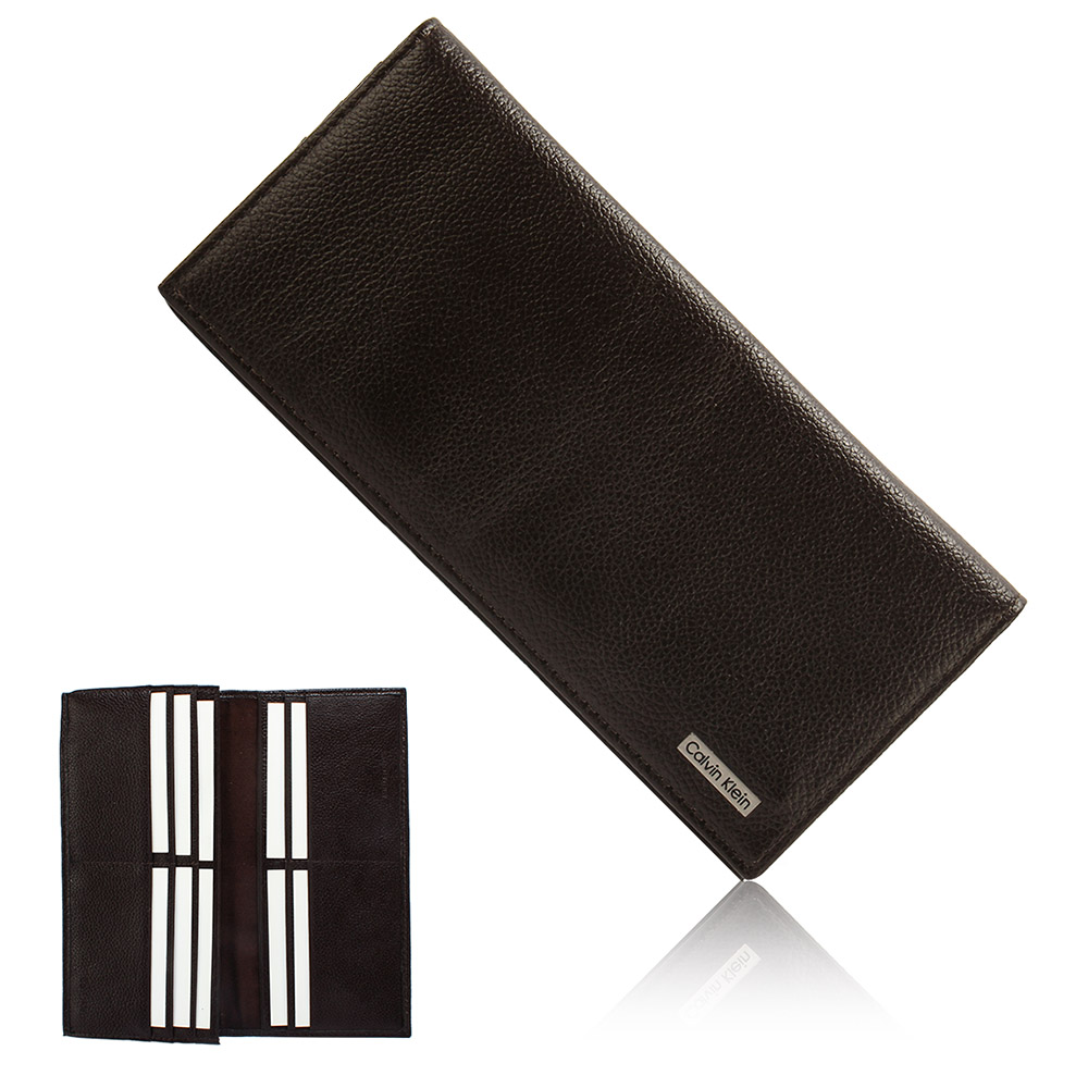 Calvin Klein RFID防盜刷 荔枝皮革金屬LOGO多卡長夾禮盒-咖啡色
