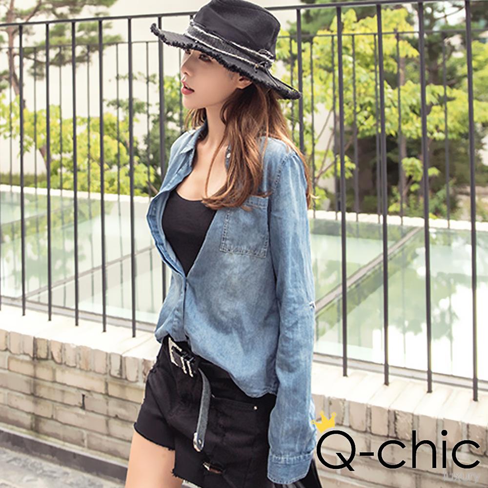 正韓 質感刷色雙口袋牛仔襯衫 (藍色)-Q-chic