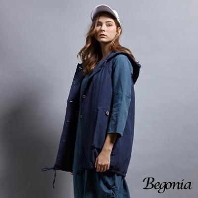 Begonia 木釦連帽抽繩長版背心(共兩色)