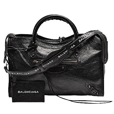BALENCIAGA經典CITY LOGO STRAP古銅金扣小羊皮手提/肩背機車包(黑)