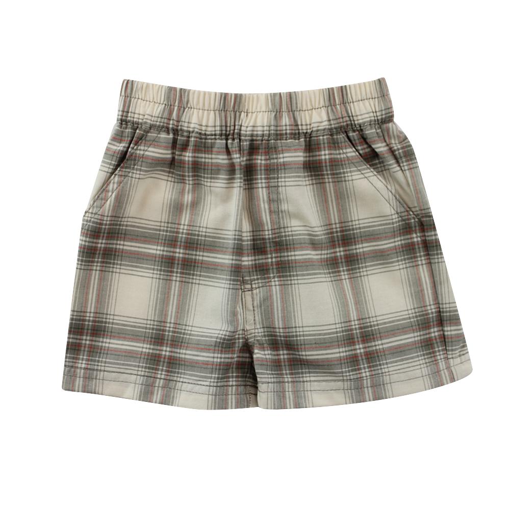 愛的世界 SUPERMINI 純棉鬆緊帶口袋格紋短褲/2~4歲