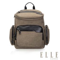 ELLE HOMME 精湛優雅紳士風範14吋筆電扣層極致機能後背包-駝色