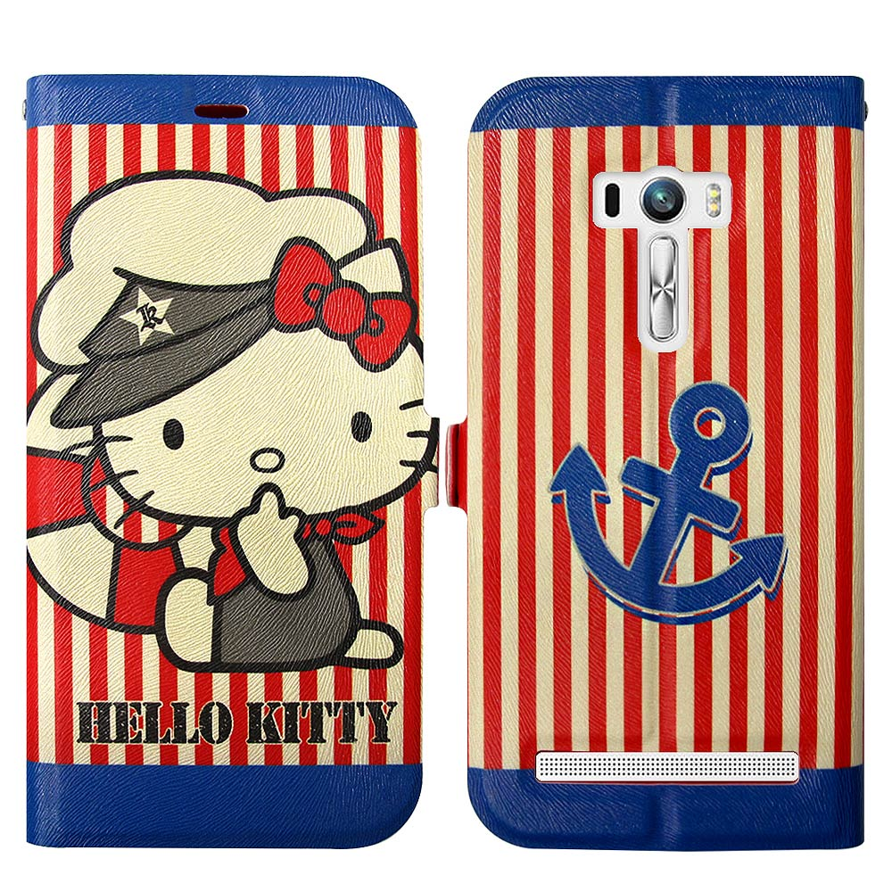 Hello Kitty貓 ASUS Zenfone Selfie 磁力書本皮套(水手船長)