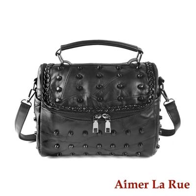 Aimer La Rue 手提側背包 羊皮點珠雙拉系列(黑色)
