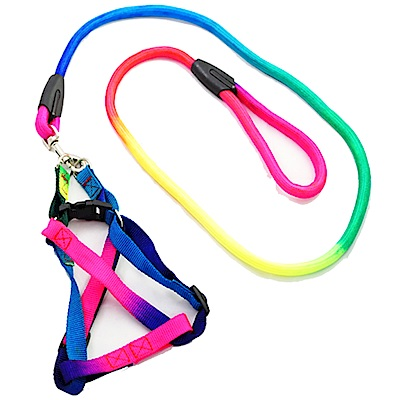 Kiwi 狗狗用七彩圓繩式拉繩+胸背帶(寬1.5cm)