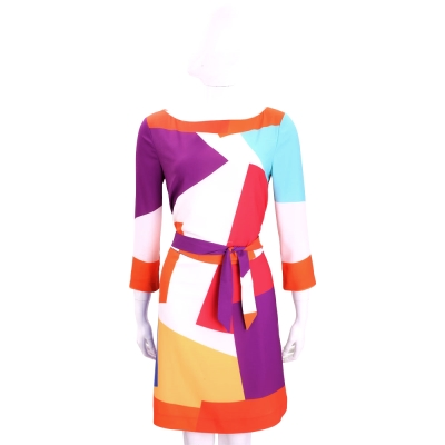 BOUTIQUE MOSCHINO 多彩色塊拼接七分袖洋裝