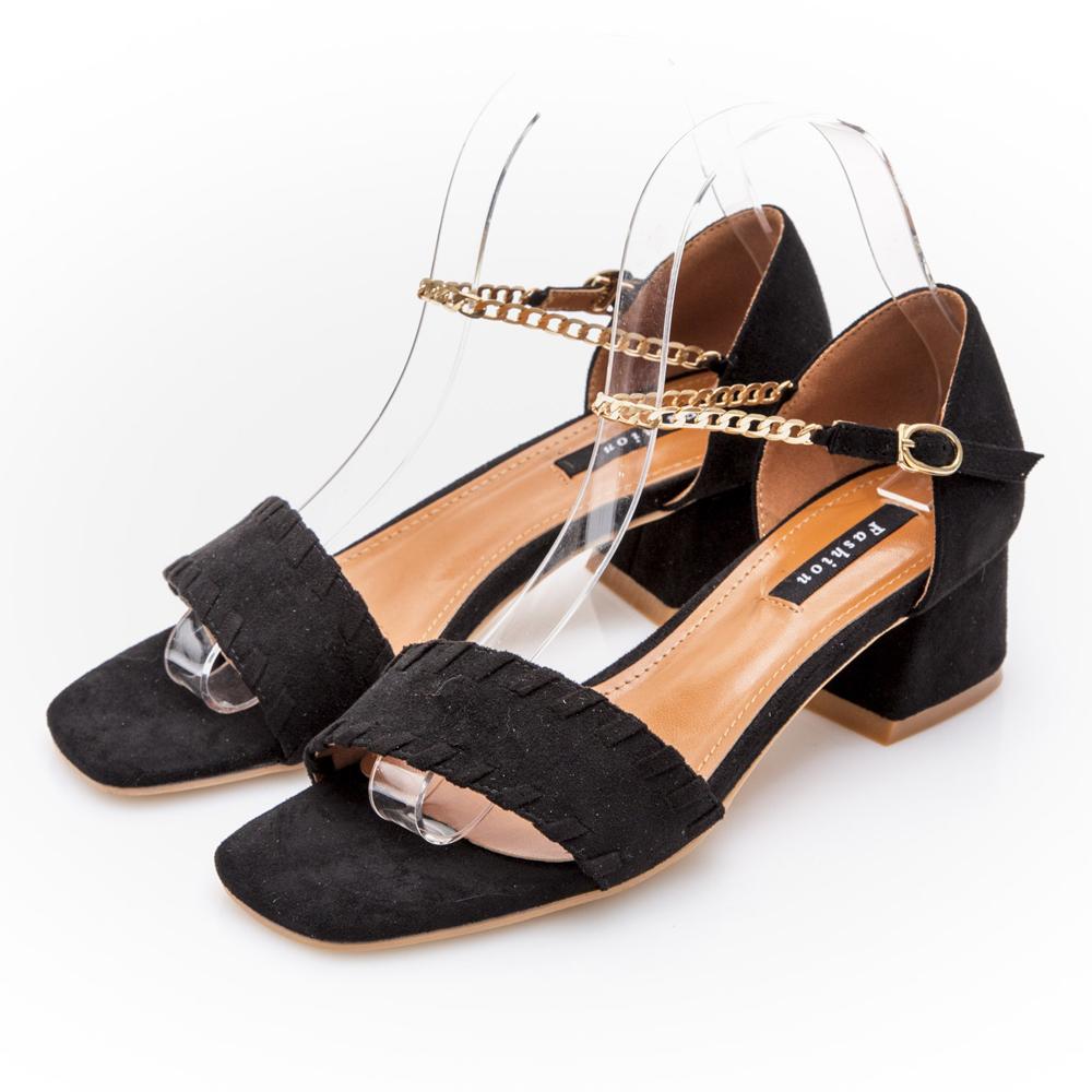 JMS-性感鍊飾環裸一字 素面低跟涼鞋-黑色
