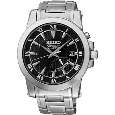 SEIKO Premier 逆跳式星期人動電能腕錶-黑/銀/41mm